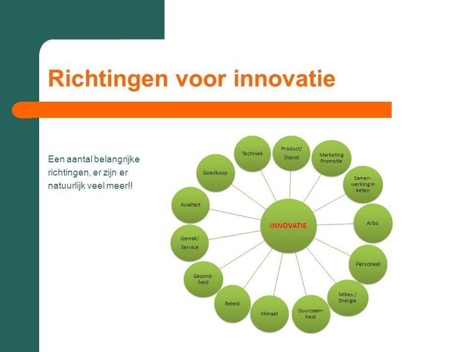 Richtingen voor innovatie Een aantal belangrijke richtingen, er zijn er natuurlijk veel meer!!
