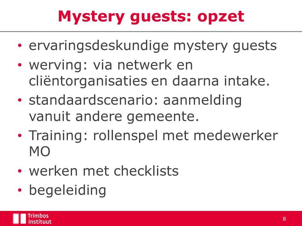 • ervaringsdeskundige mystery guests • werving: via netwerk en cliëntorganisaties en daarna intake.