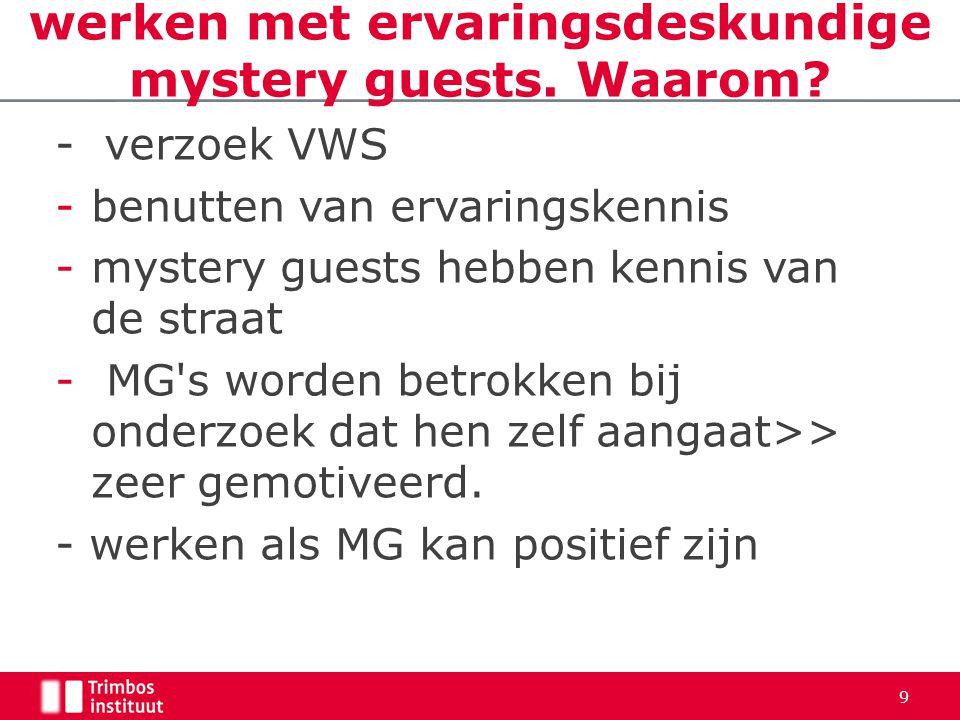 - verzoek VWS -benutten van ervaringskennis -mystery guests hebben kennis van de straat - MG s worden betrokken bij onderzoek dat hen zelf aangaat>> zeer gemotiveerd.