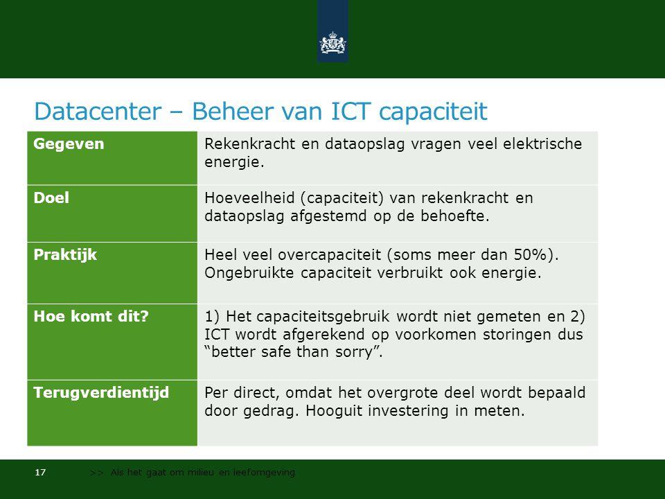 Datacenter – Beheer van ICT capaciteit GegevenRekenkracht en dataopslag vragen veel elektrische energie.