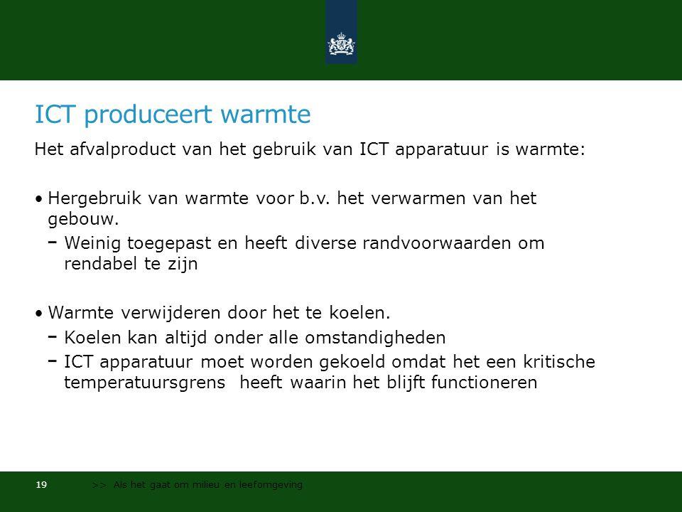 ICT produceert warmte Het afvalproduct van het gebruik van ICT apparatuur is warmte: •Hergebruik van warmte voor b.v.