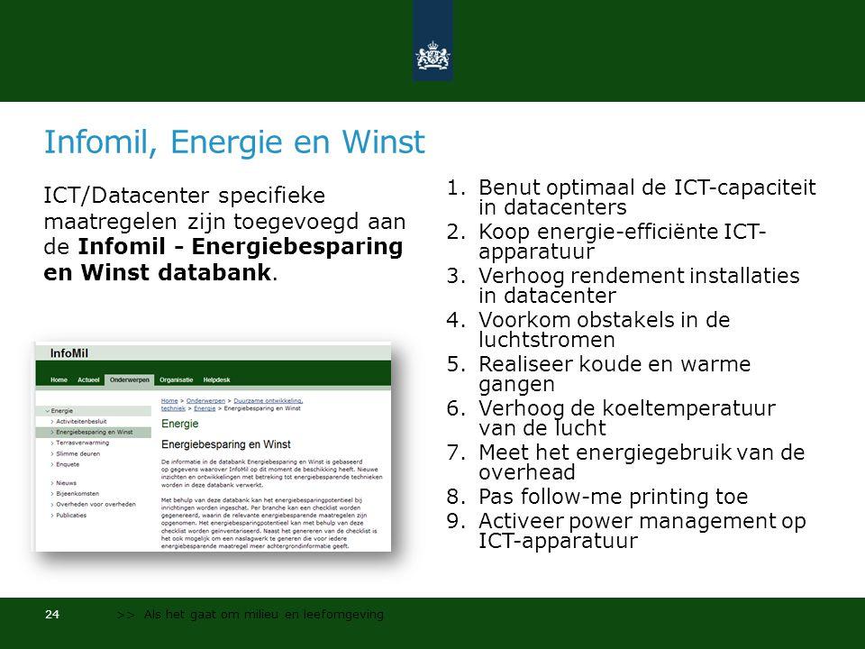 Infomil, Energie en Winst ICT/Datacenter specifieke maatregelen zijn toegevoegd aan de Infomil - Energiebesparing en Winst databank.