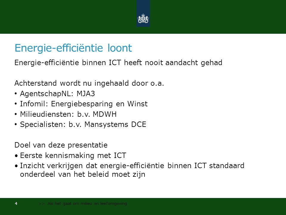 Energie-efficiëntie loont Energie-efficiëntie binnen ICT heeft nooit aandacht gehad Achterstand wordt nu ingehaald door o.a.