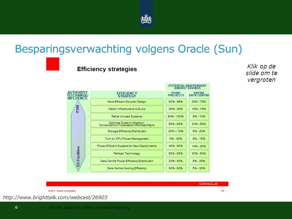 Besparingsverwachting volgens Oracle (Sun) 6 >> Als het gaat om milieu en leefomgeving Klik op de slide om te vergroten http://www.brighttalk.com/webcast/26903