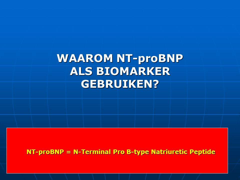 NT-proBNP = N-Terminal Pro B-type Natriuretic Peptide WAAROM NT-proBNP ALS BIOMARKER GEBRUIKEN?