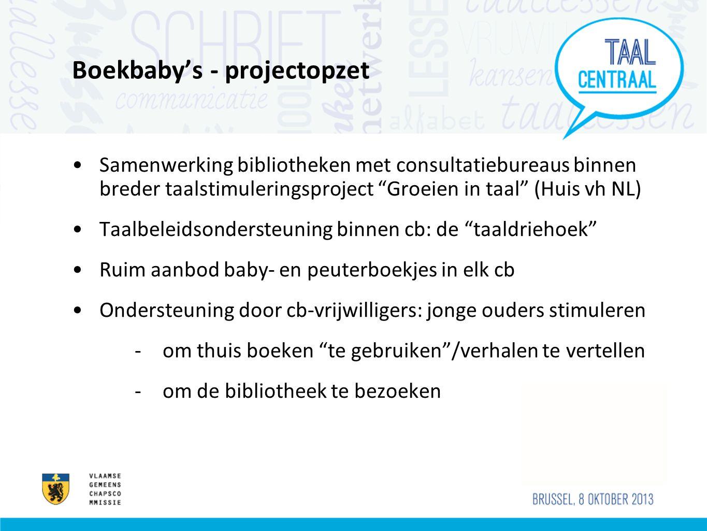 """Boekbaby's - projectopzet •Samenwerking bibliotheken met consultatiebureaus binnen breder taalstimuleringsproject """"Groeien in taal"""" (Huis vh NL) •Taal"""