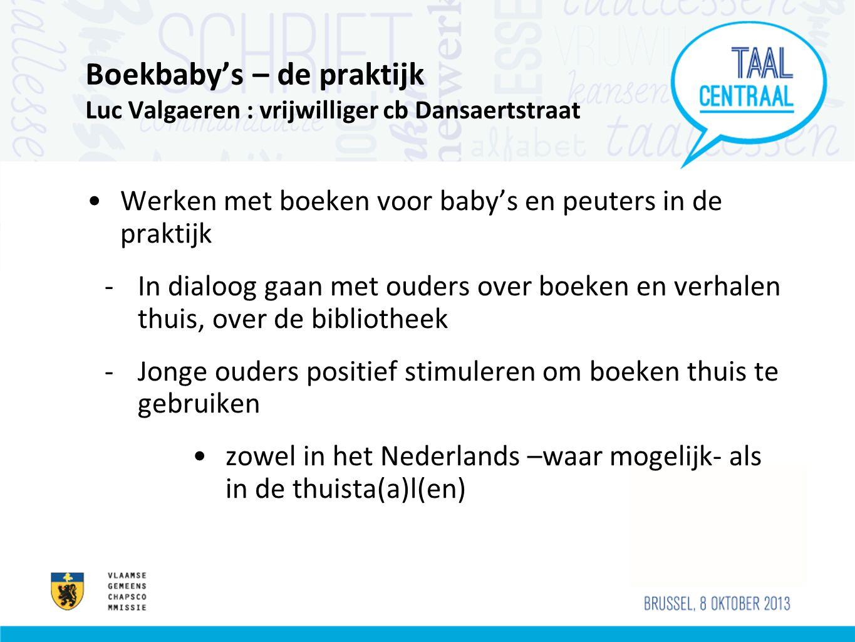 Boekenbende - projectopzet •Samenwerking bibliotheken met Nederlandstalige basisscholen en hogescholen: leesbevordering voor kinderen uit maatschappelijk kwetsbare gezinnen •Voorlezers gaan 5 keer boeken voorlezen aan 5-/6-jarige kinderen uit leesarme gezinnen •Boeken- en verhalenplezier aan huis •Ouderbetrokkenheid • Knuffelwaarde van het Nederlands •Bibliotheekpromotie •!.