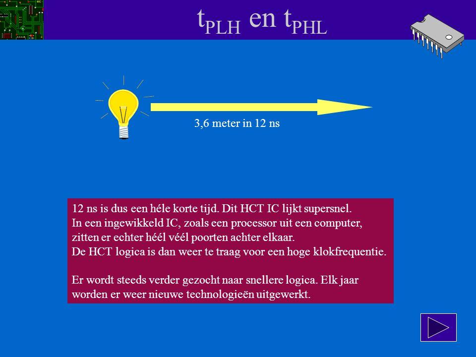 t PLH en t PHL Hoe snel is 12 ns ? Het licht legt per seconde 300000 km af: v = 3 x 10 8 m/s 12 nanoseconden is 12 x 10 -9 s we weten: s = v x t. In 1