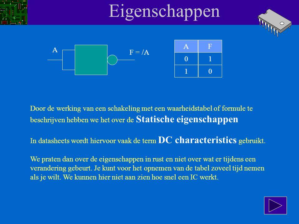 Eigenschappen We beginnen met een eenvoudige NAND-poort. De werking van de onderstaande schakeling kunnen we met een waarheidstabel weergeven. A F AF