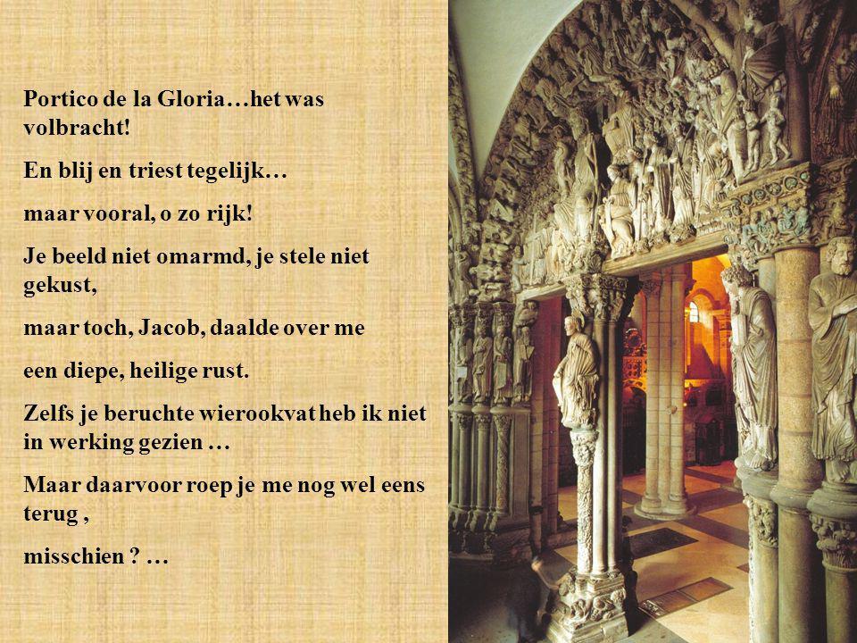 Plots stond ik voor je, Jacob Hoog in de gevel van je kathedraal Een vloed van emotie omprangde mijn hart Om zo veel poëzie in barokke pracht