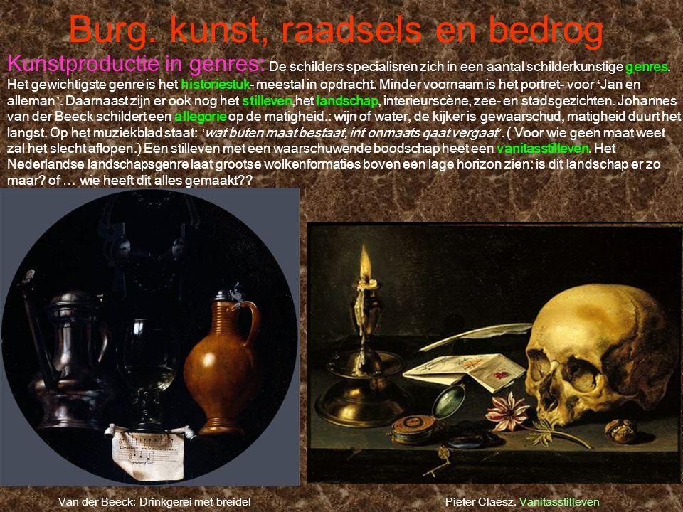 Burg. kunst, raadsels en bedrog Pieter Claesz. Vanitasstilleven Kunstproductie in genres: De schilders specialisren zich in een aantal schilderkunstig