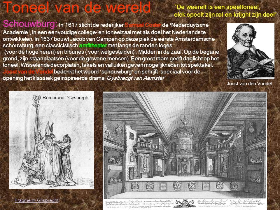 Toneel van de wereld Joost van den Vondel ' De weerelt is een speeltoneel, elck speelt zijn rol en krijght zijn deel ' Schouwburg: In 1617 sticht de r