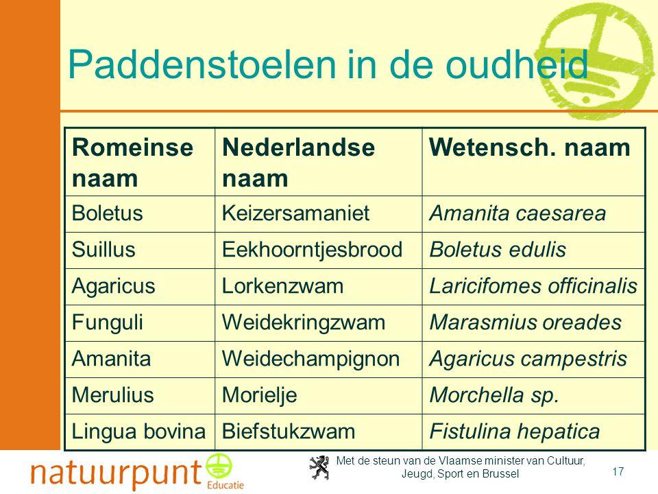 Met de steun van de Vlaamse minister van Cultuur, Jeugd, Sport en Brussel 17 Paddenstoelen in de oudheid Romeinse naam Nederlandse naam Wetensch. naam