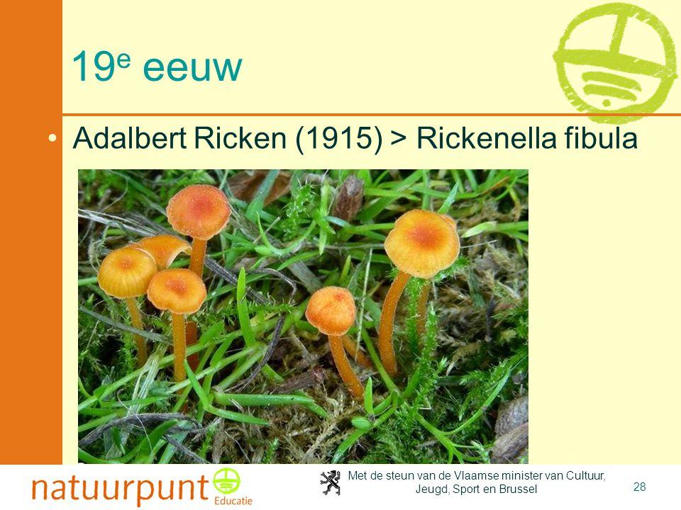 Met de steun van de Vlaamse minister van Cultuur, Jeugd, Sport en Brussel 28 19 e eeuw •Adalbert Ricken (1915) > Rickenella fibula