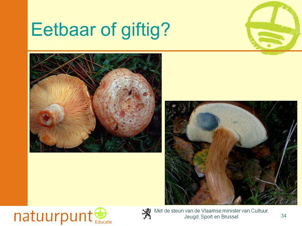 Met de steun van de Vlaamse minister van Cultuur, Jeugd, Sport en Brussel 34 Eetbaar of giftig?