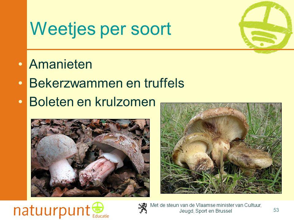 Met de steun van de Vlaamse minister van Cultuur, Jeugd, Sport en Brussel 53 Weetjes per soort •Amanieten •Bekerzwammen en truffels •Boleten en krulzo