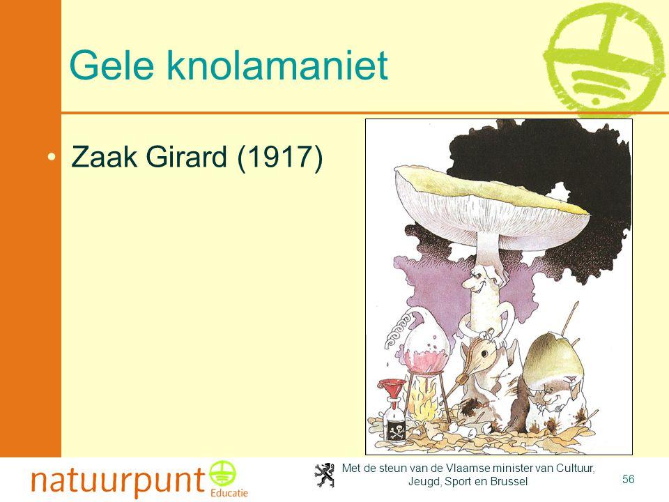 Met de steun van de Vlaamse minister van Cultuur, Jeugd, Sport en Brussel 56 Gele knolamaniet •Zaak Girard (1917)