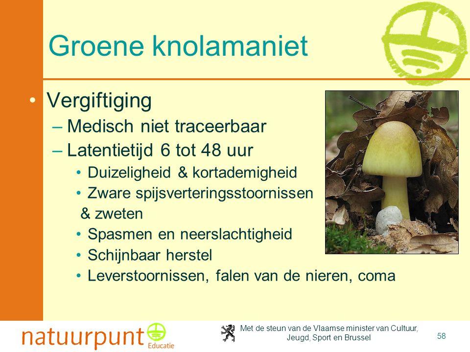 Met de steun van de Vlaamse minister van Cultuur, Jeugd, Sport en Brussel 58 Groene knolamaniet •Vergiftiging –Medisch niet traceerbaar –Latentietijd