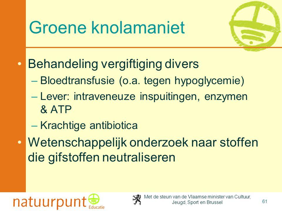 Met de steun van de Vlaamse minister van Cultuur, Jeugd, Sport en Brussel 61 Groene knolamaniet •Behandeling vergiftiging divers –Bloedtransfusie (o.a