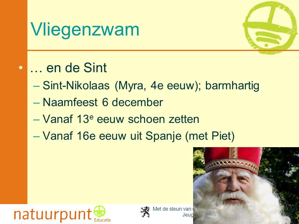 Met de steun van de Vlaamse minister van Cultuur, Jeugd, Sport en Brussel 74 Vliegenzwam •… en de Sint –Sint-Nikolaas (Myra, 4e eeuw); barmhartig –Naa