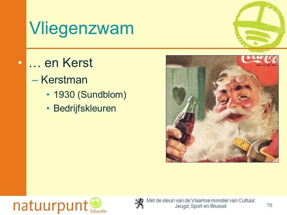 Met de steun van de Vlaamse minister van Cultuur, Jeugd, Sport en Brussel 76 Vliegenzwam •… en Kerst –Kerstman •1930 (Sundblom) •Bedrijfskleuren