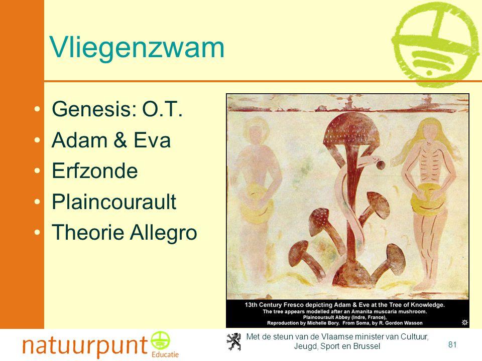Met de steun van de Vlaamse minister van Cultuur, Jeugd, Sport en Brussel 81 Vliegenzwam •Genesis: O.T. •Adam & Eva •Erfzonde •Plaincourault •Theorie