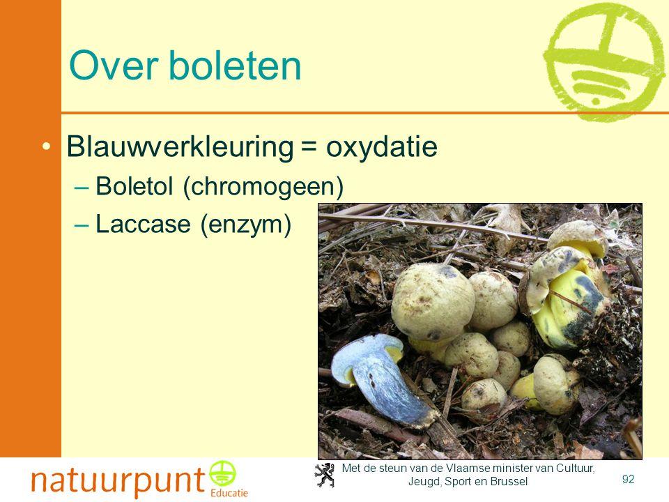 Met de steun van de Vlaamse minister van Cultuur, Jeugd, Sport en Brussel 92 Over boleten •Blauwverkleuring = oxydatie –Boletol (chromogeen) –Laccase