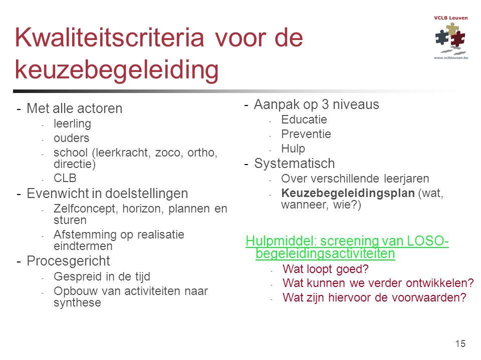 15 Kwaliteitscriteria voor de keuzebegeleiding -Met alle actoren - leerling - ouders - school (leerkracht, zoco, ortho, directie) - CLB -Evenwicht in