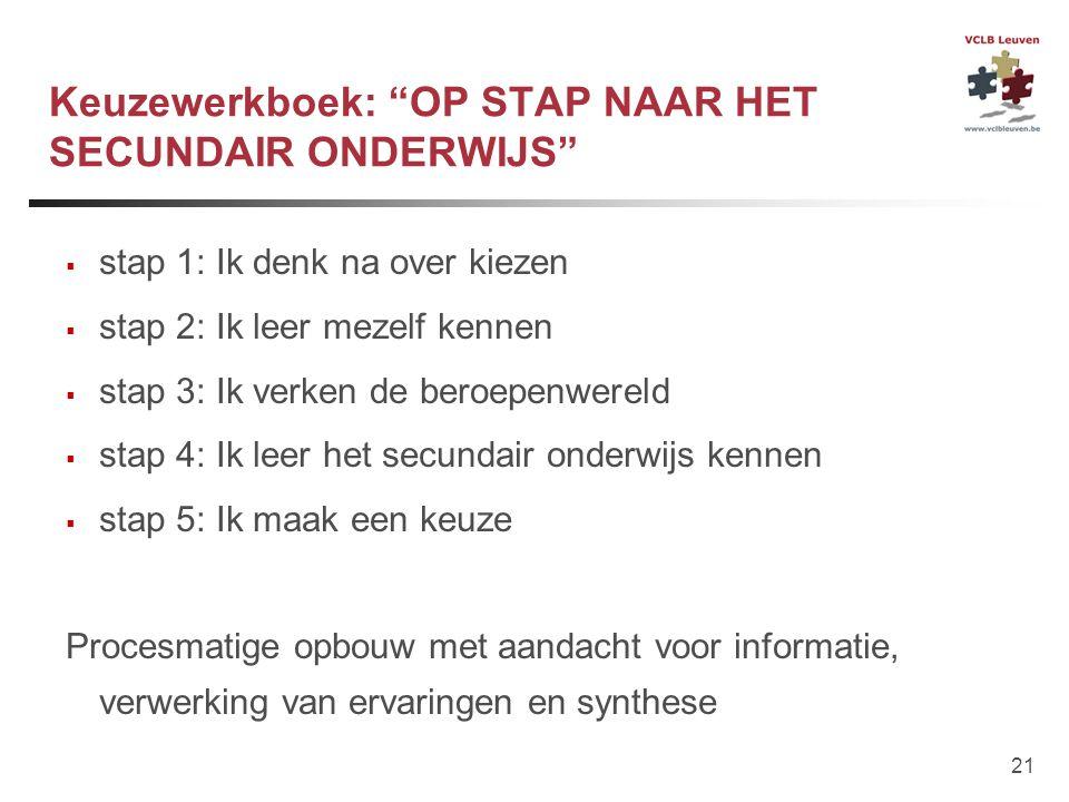 """21 Keuzewerkboek: """"OP STAP NAAR HET SECUNDAIR ONDERWIJS""""  stap 1: Ik denk na over kiezen  stap 2: Ik leer mezelf kennen  stap 3: Ik verken de beroe"""