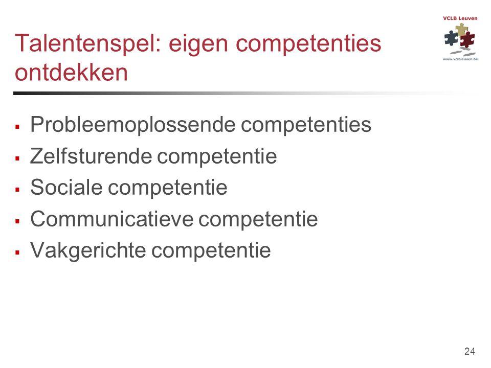 24 Talentenspel: eigen competenties ontdekken  Probleemoplossende competenties  Zelfsturende competentie  Sociale competentie  Communicatieve comp