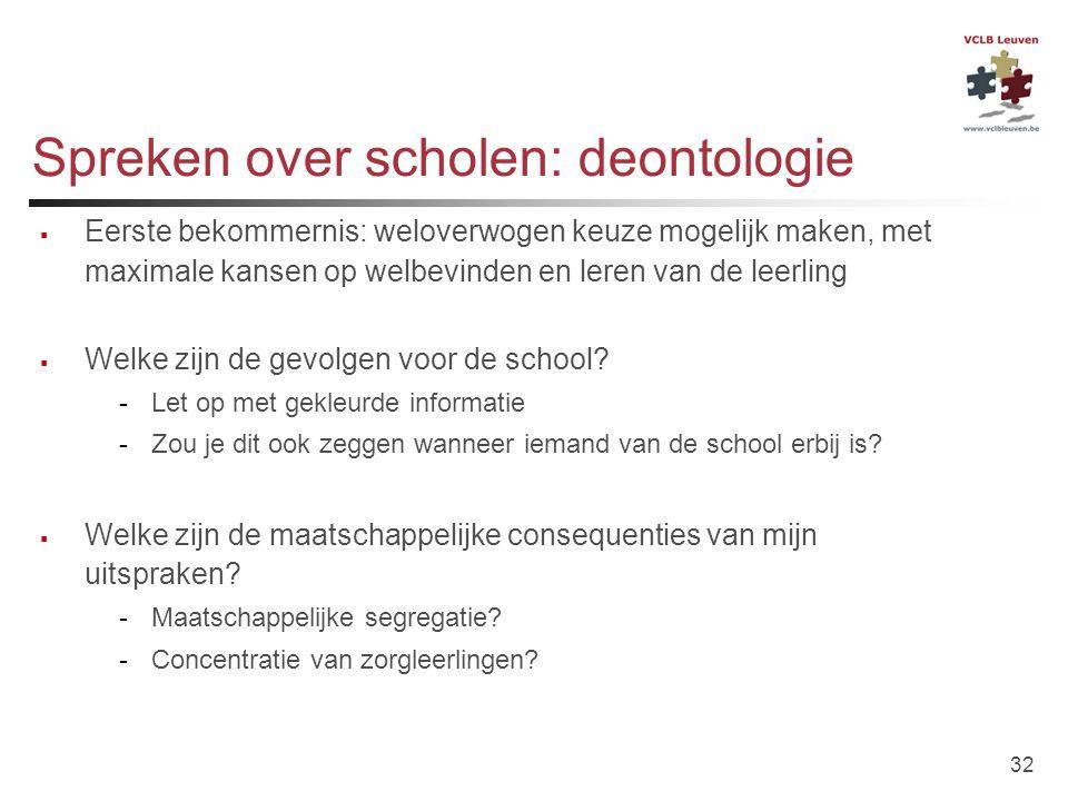 32 Spreken over scholen: deontologie  Eerste bekommernis: weloverwogen keuze mogelijk maken, met maximale kansen op welbevinden en leren van de leerl