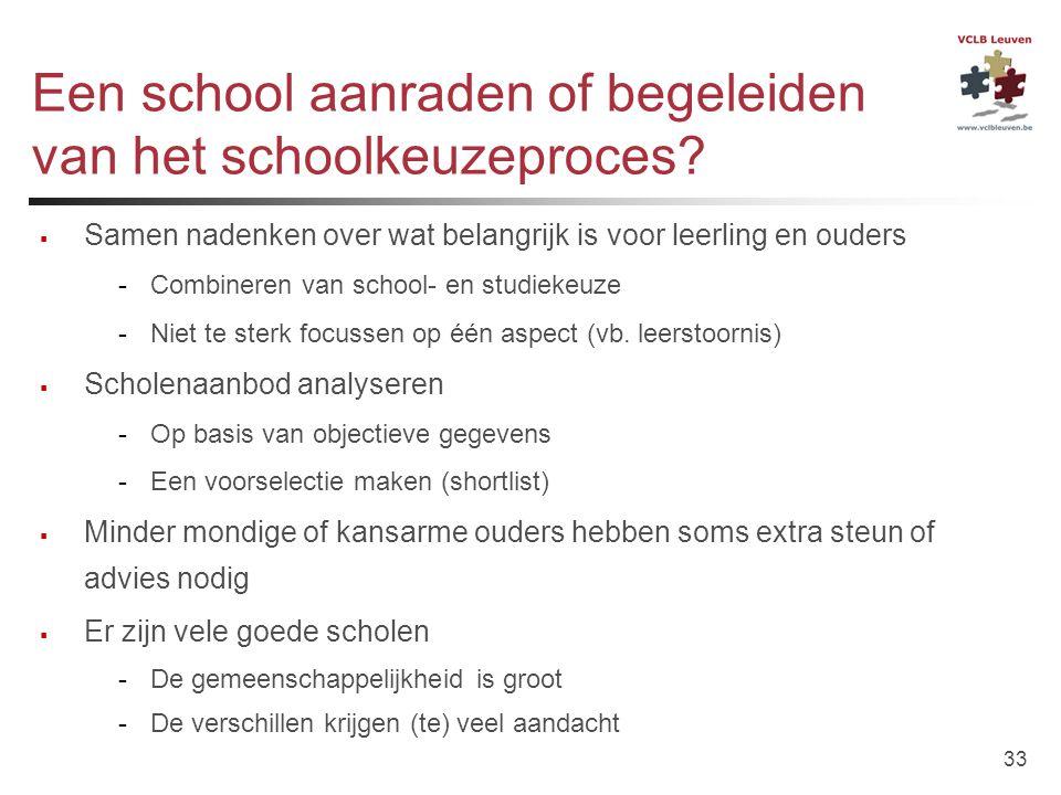 33 Een school aanraden of begeleiden van het schoolkeuzeproces?  Samen nadenken over wat belangrijk is voor leerling en ouders -Combineren van school