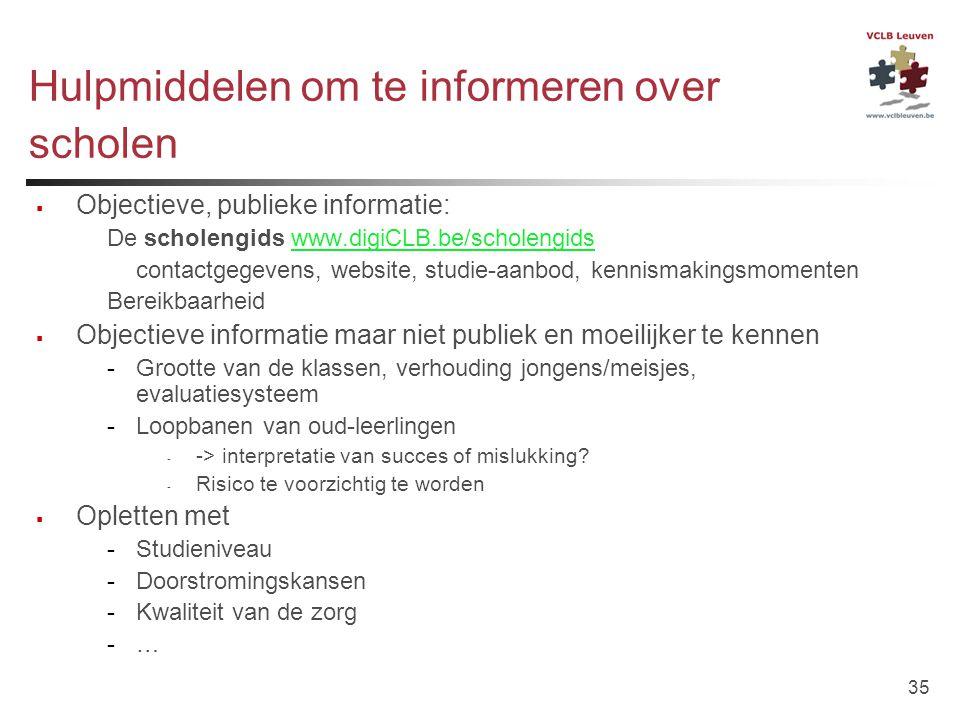 35 Hulpmiddelen om te informeren over scholen  Objectieve, publieke informatie: De scholengids www.digiCLB.be/scholengidswww.digiCLB.be/scholengids c