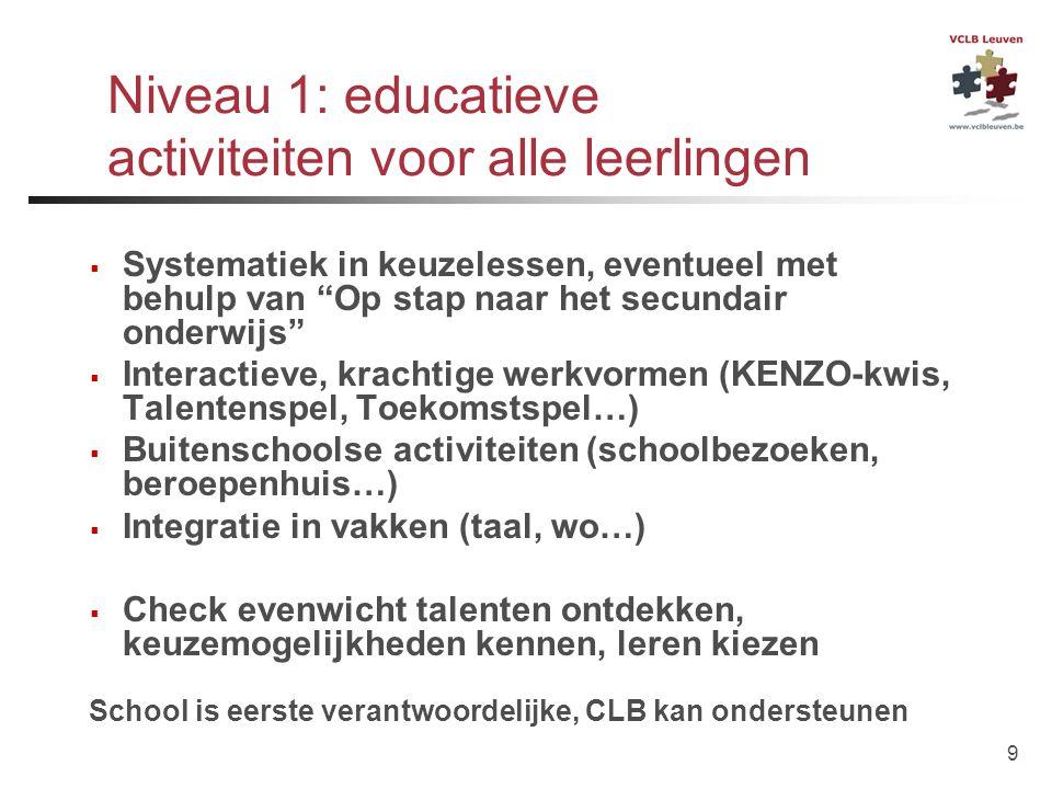 """9 Niveau 1: educatieve activiteiten voor alle leerlingen  Systematiek in keuzelessen, eventueel met behulp van """"Op stap naar het secundair onderwijs"""""""
