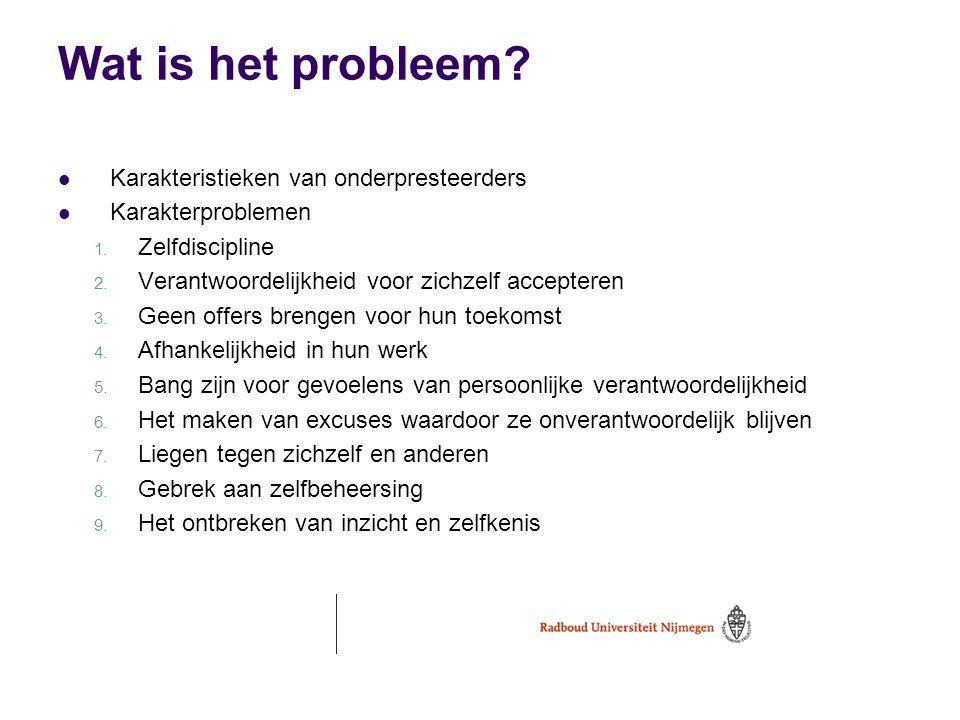Wat is het probleem?  Karakteristieken van onderpresteerders  Karakterproblemen 1. Zelfdiscipline 2. Verantwoordelijkheid voor zichzelf accepteren 3