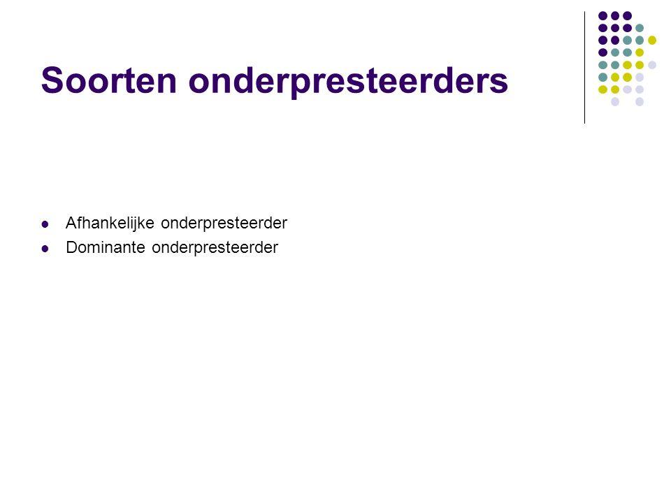 Soorten onderpresteerders  Afhankelijke onderpresteerder  Dominante onderpresteerder