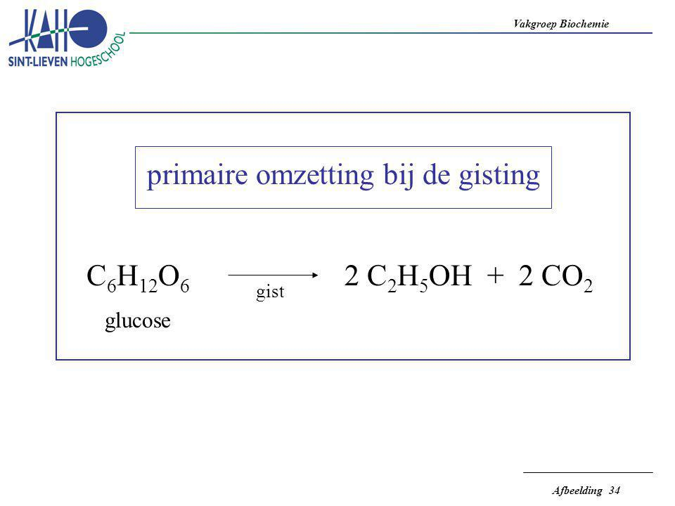 Vakgroep Biochemie Afbeelding 34 primaire omzetting bij de gisting C 6 H 12 O 6 glucose gist 2 C 2 H 5 OH + 2 CO 2