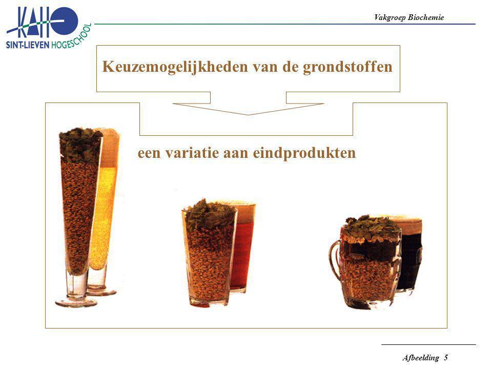 Vakgroep Biochemie Afbeelding 6  voor 1 liter bier is  7 liter water nodig  vroeger was watercorrectie onmogelijk  de brouwmethode moest aangepast worden aan het beschikbare water  het brouwwater bepaalde het biertype - Munchenertype - Dortmunter - Oudenaards - Pilzen - Pale Ale (Burton on Trend) - Wiener  nu kan het brouwwater op maat bereid worden BROUWWATER