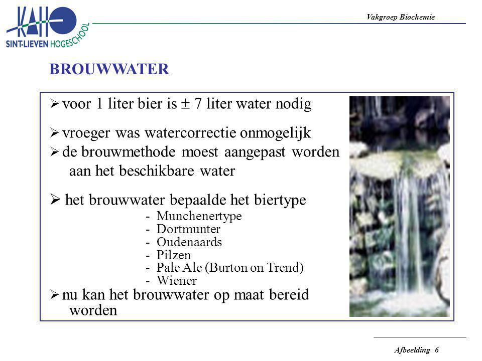 Vakgroep Biochemie Afbeelding 6  voor 1 liter bier is  7 liter water nodig  vroeger was watercorrectie onmogelijk  de brouwmethode moest aangepast