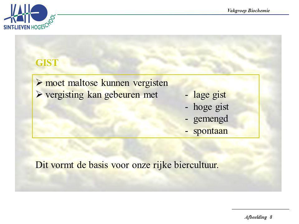 Vakgroep Biochemie Afbeelding 8 GIST  moet maltose kunnen vergisten  vergisting kan gebeuren met- lage gist - hoge gist - gemengd - spontaan Dit vor
