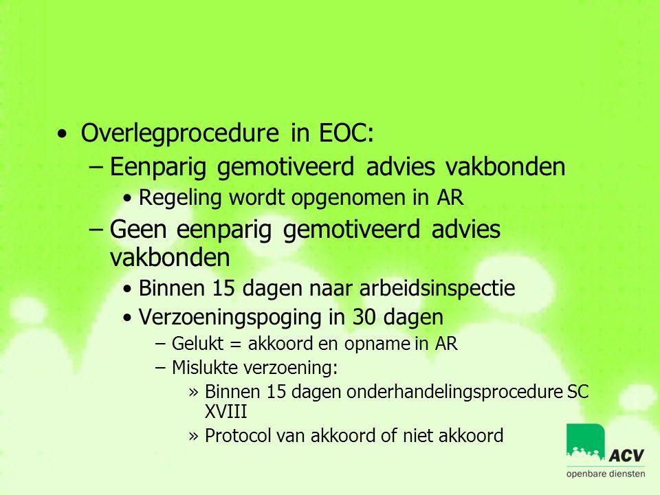 •Overlegprocedure in EOC: –Eenparig gemotiveerd advies vakbonden •Regeling wordt opgenomen in AR –Geen eenparig gemotiveerd advies vakbonden •Binnen 1
