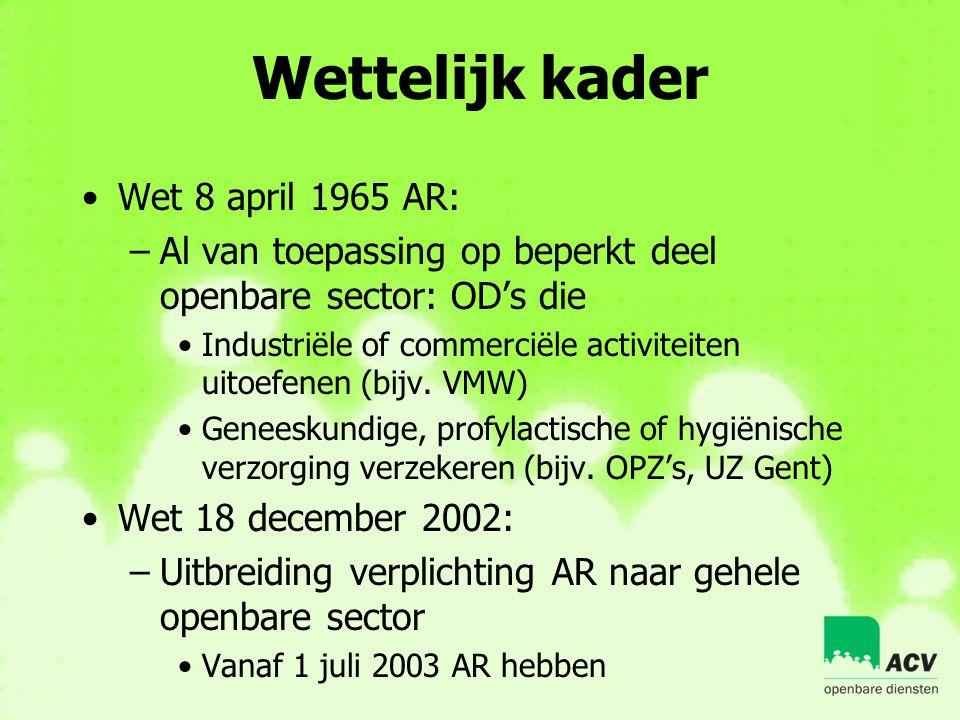 Wettelijk kader •Wet 8 april 1965 AR: –Al van toepassing op beperkt deel openbare sector: OD's die •Industriële of commerciële activiteiten uitoefenen