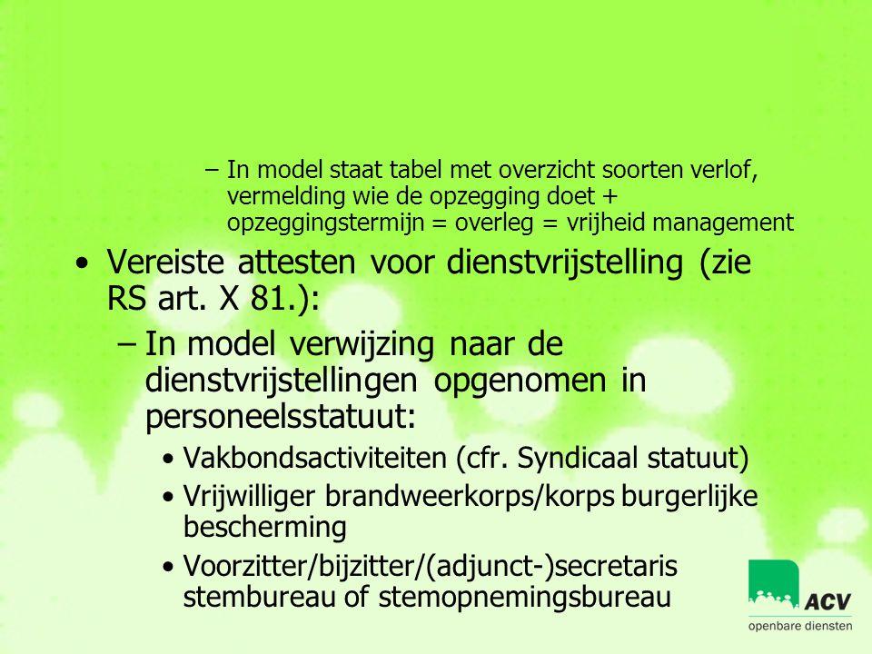 –In model staat tabel met overzicht soorten verlof, vermelding wie de opzegging doet + opzeggingstermijn = overleg = vrijheid management •Vereiste att