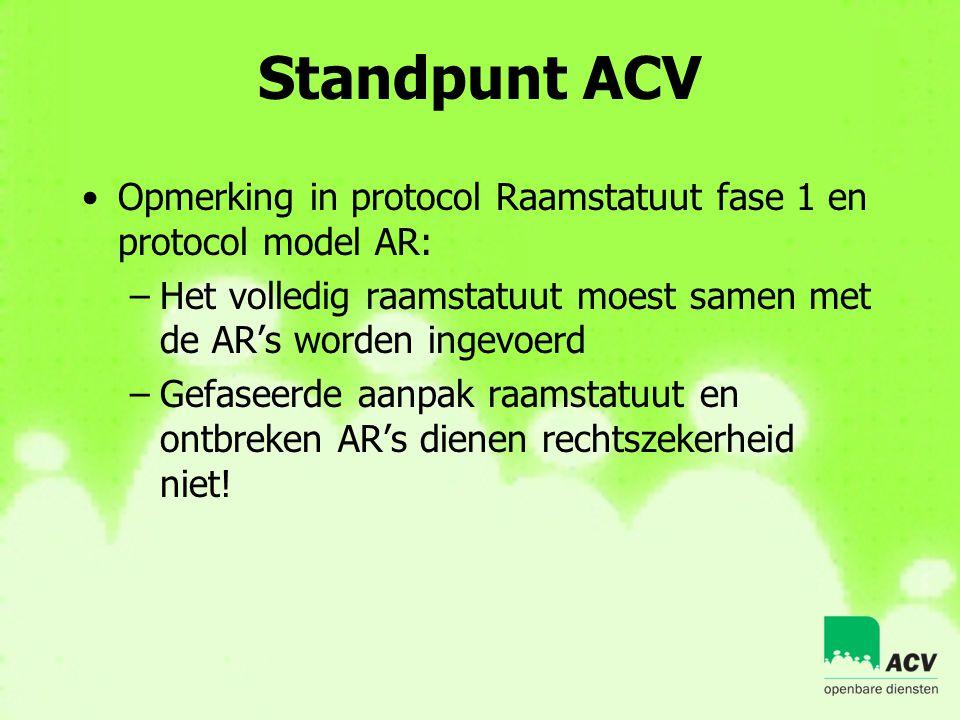 Standpunt ACV •Opmerking in protocol Raamstatuut fase 1 en protocol model AR: –Het volledig raamstatuut moest samen met de AR's worden ingevoerd –Gefa