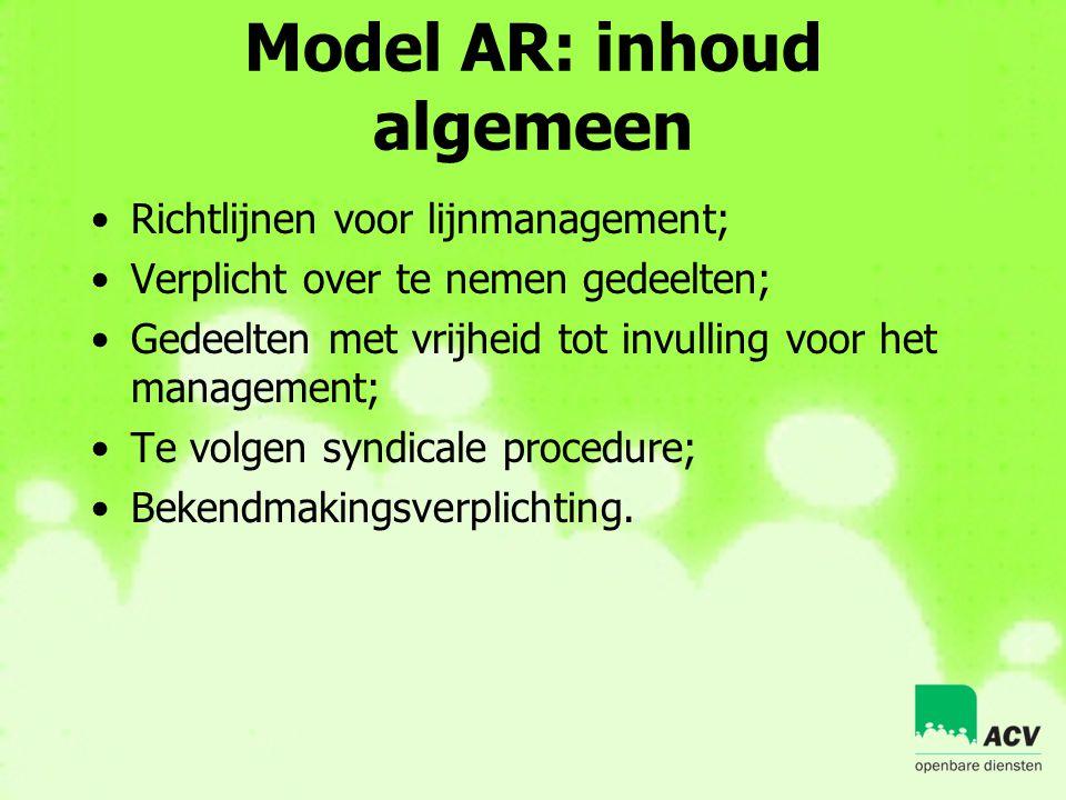 Model AR: inhoud algemeen •Richtlijnen voor lijnmanagement; •Verplicht over te nemen gedeelten; •Gedeelten met vrijheid tot invulling voor het managem