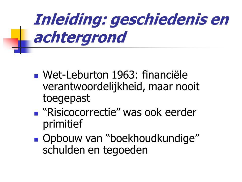 Inleiding: geschiedenis en achtergrond  Wet-Leburton 1963: financiële verantwoordelijkheid, maar nooit toegepast  Risicocorrectie was ook eerder primitief  Opbouw van boekhoudkundige schulden en tegoeden