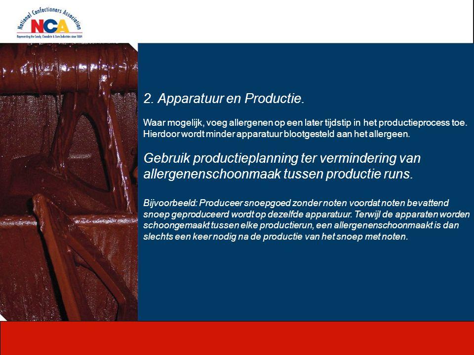 2. Apparatuur en Productie. Waar mogelijk, voeg allergenen op een later tijdstip in het productieprocess toe. Hierdoor wordt minder apparatuur blootge