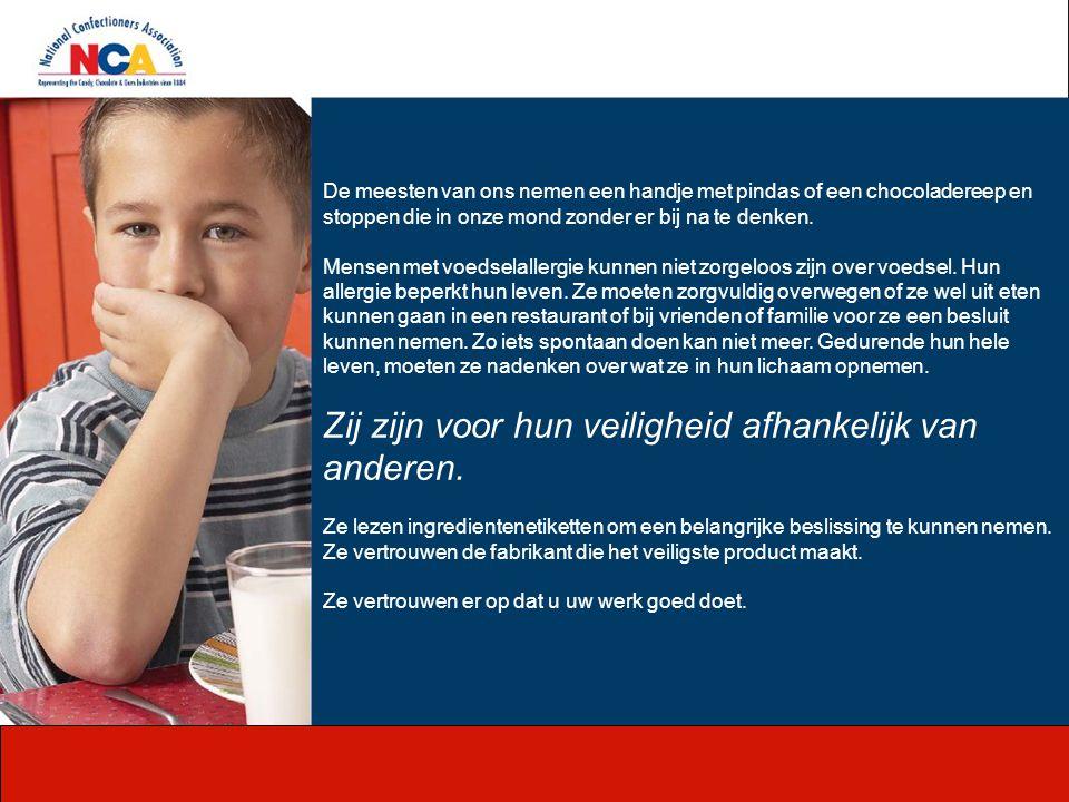 Meer Bronnen Om meer te leren over de allergenen aspecten zoals het gerelateerd is met de zoetwarenindustrie, bezoek dan de volgende engelstalige websites: http://www.farrp.org http://www.cfsan.fda.gov/~dms/wh*alrgy.html http://www.candyusa.com Europeese organisatie: http://www.ific.org http://www.ific.org Patientenorganisatie: http://www.anafylaxis.nl (Nederlandstalig) http://www.anafylaxis.nl http://schoolenallergie.nlhttp://schoolenallergie.nl (Nederlandstalig) COPYRIGHT INFORMATION de Copyrechten in deze presentatie behoren aan het NCA, Die alleen verantwoordelijk is voor de inhoud.