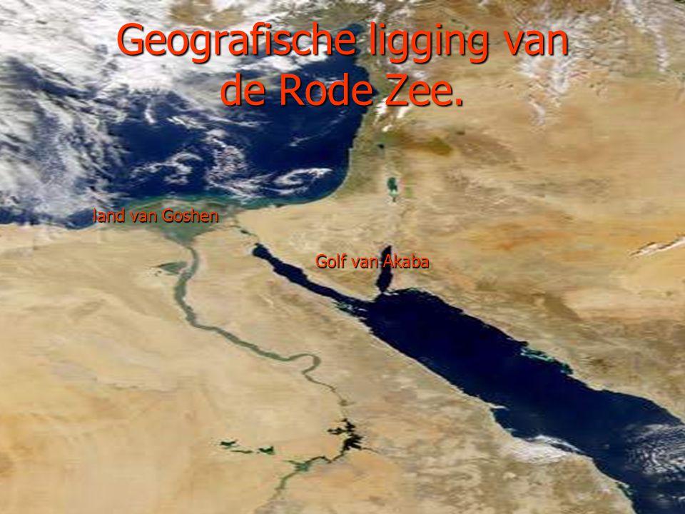Geografische ligging van de Rode Zee. Golf van Akaba land van Goshen