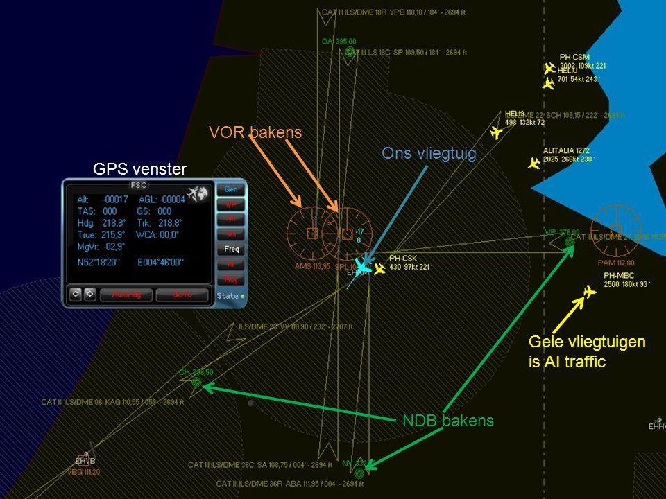 Ons vliegtuig VOR bakens Gele vliegtuigen is AI traffic NDB bakens GPS venster